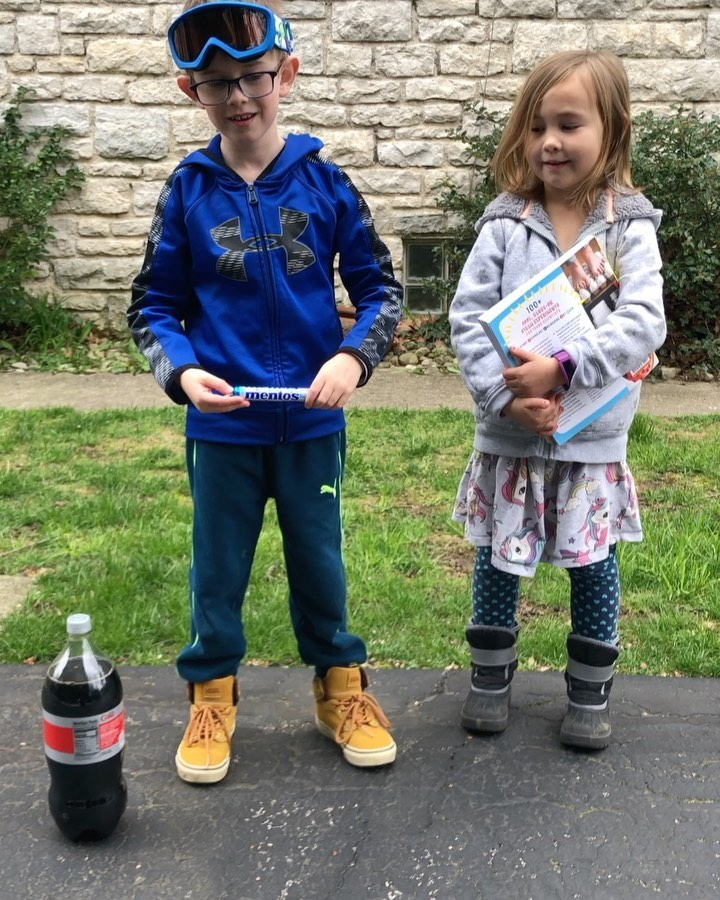 Declan and Teagan do the Mentos and Diet Coke experiment 🧪#ScienceSunday